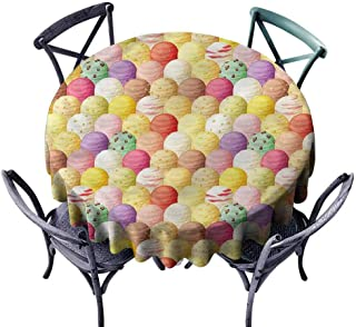 FANOEWI Creative Round Tablecloth Ice Cream Flavor Toppings Buffet Table,Parties,Holiday Dinner,Wedding,Picnic,Patio,Kitchen,Dining,Family Room D51