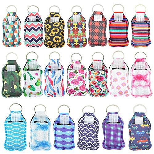 20 Sets Hand Sanitizer Holders, Empty Travel Size Bottle and Keychain Holders Set Include 20pcs Flip Cap Reusable Bottles, 20pcs Reusable Bottles Keychain Carriers for Hand Sanitizer (A)