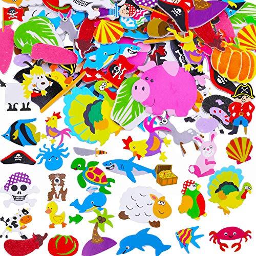HOWAF 89 Stück Schaumstoff Sticker Selbstklebendes für Kinder & Kleinkinder, Delfine Gemüse Tier Piraten Schaumstoff Aufkleber 3D Aufkleber Geschwollen Stickers für Jungen Mädchen Lehrer