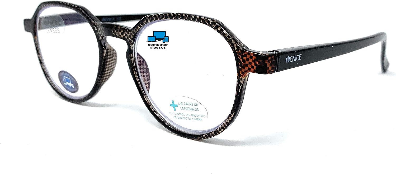 VENICE EYEWEAR OCCHIALI   New Model Gafas con filtro bloqueo luz azul para gaming, ordenador, móvil. Anti fatiga CARBBON professional unisex venice (Negro, 0,00 sin graduación)