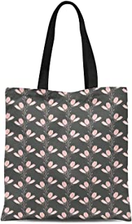 S4Sassy Blue Leaves & Buds Floral Print Canvas Shopping Tote Bag Carrying Handbag Casual Shoulder Bag 16x12 Inches