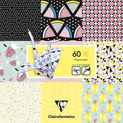 Clairefontaine 95316C Pack mit 60 Bögen Origamipapier (70 g, 15 x 15 cm, Früchte) 1 Pack