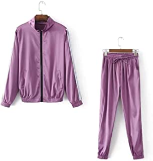 Women Side Striped Satin Zip Through Tracksuit and Trainer Joggers Satin Sets
