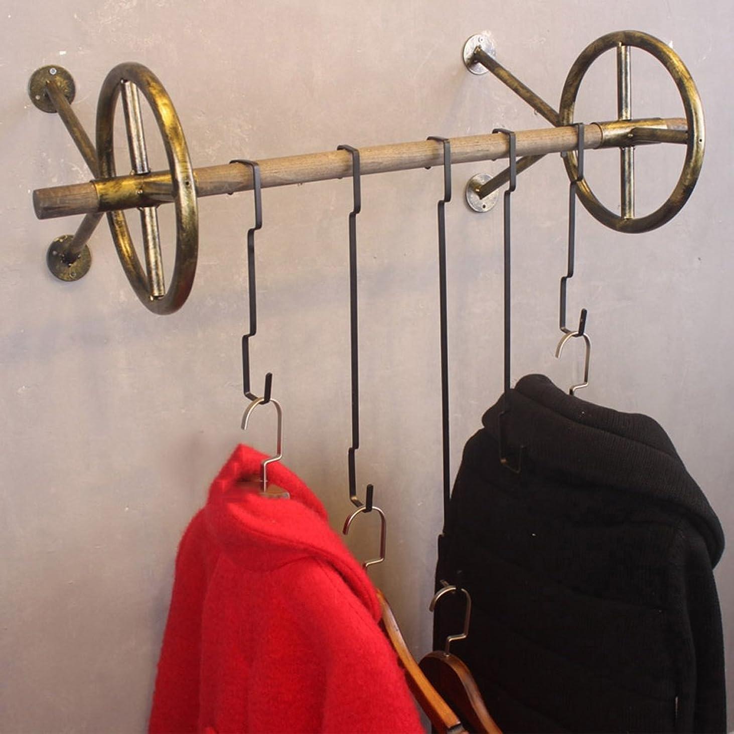 無法者哲学的コンドームMariny フックレトロコートラックソリッドウッド鍛鉄製の壁掛けラックの組み合わせ服ラック (色 : ブロンズ, サイズ さいず : 120cm)