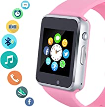 Smart Watch, Smartwatch Phone with SD Card Camera Pedometer Text Call Notification SIM Card Slot Music Player Compatible for Android Samsung Huawei and IPhone (Partial Functions) for Women Teens Girls
