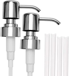 304 Stainless Steel Soap and Lotion Dispenser Pumps, 2 Packs, Replacement Pumps for Your Bottles Fit Standard 8oz / 16oz Boston Round 28/400 Neck Bottles