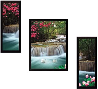 PAF written in a Frame Framed 3 Set Modern Art Painting|| Waterfall Natural Wall Décor Painting for Living Room and Offic...