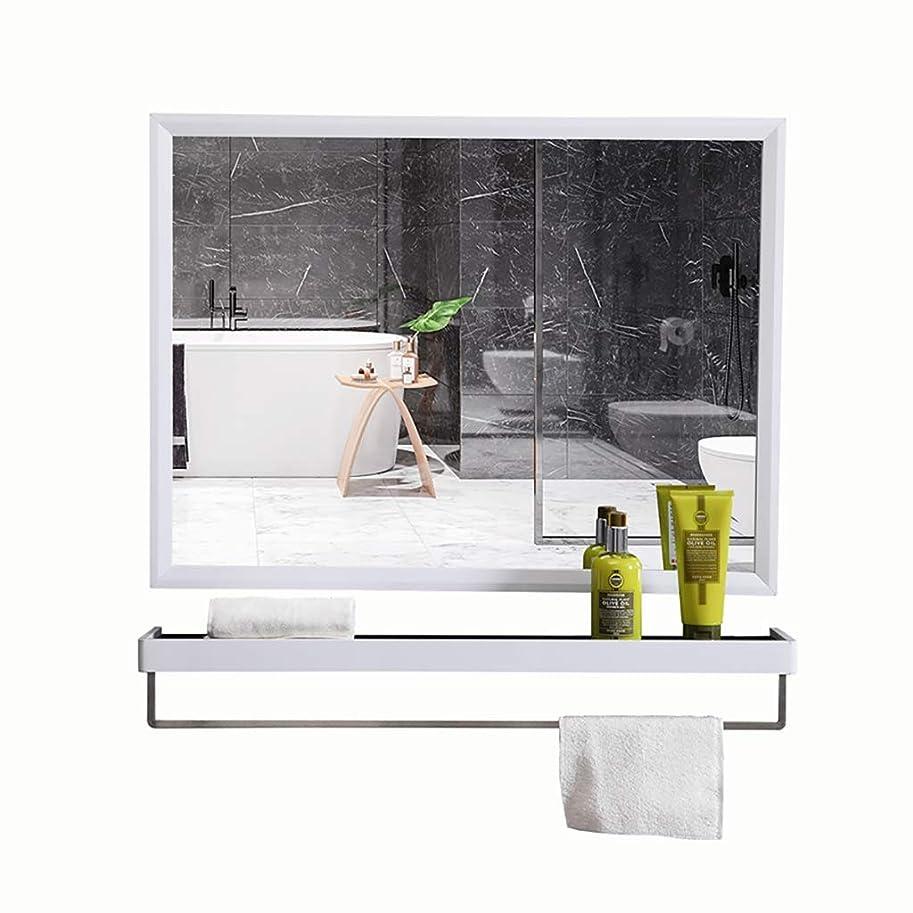 追加するあなたのもの再撮り棚とタオルバー付きのバスルームミラー長方形のステンレススチールフレームの壁ミラー化粧台ミラー壁掛け用バスルームの洗面所(6サイズ)