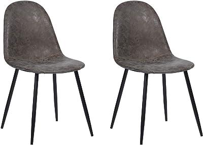 MEUBLE COSY Lot de 2 Chaise de Salle à Manger Moderne Chaise de Cuisine en Simili cuir Vintage et métal, Chaise de Bureau Ergonomique