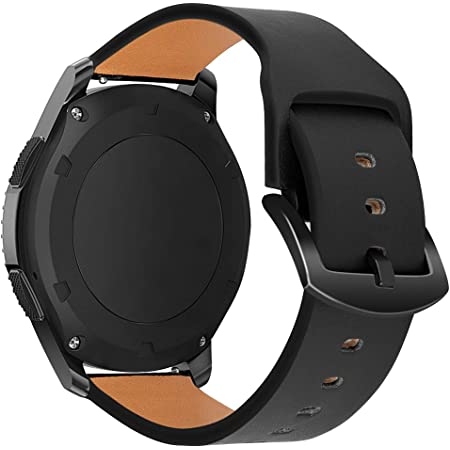 iBazal Bracelets Galaxy Watch 46mm Cuir 22mm Bandes Compatible avec Samsung Galaxy Watch 3 45mm/Gear S3 Frontier Classic Bands Peau Remplacement pour Huawei GT/2 Classic,Ticwatch Pro - Noir
