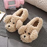 Memory Foam Zapatillas De Casa para Mujer,Teddy Dog Cotton Slippers, PVC Non-Slip Slippers For Home Furnishings In Autumn and Winter, Plush Warm Slippers For Male and Female Student Dormitories, Ch