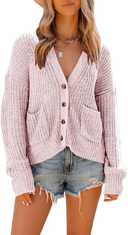 TTshoes Womens Open Front Button Down Cardigan Sweaters Long Sleeve Casual Chunky Knit Loose Cozy Outwear Coat with Pockets Pink