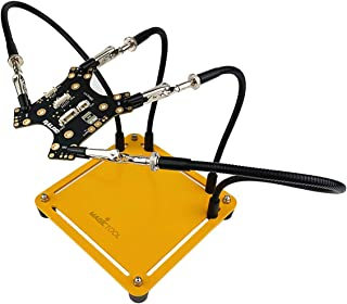 可動式溶接修理フレーム フレキシブル助けの手 はんだ付け道具(フレキシブルユニバーサルアーム4アーム、可動式トレイ、耐熱カバー、360度旋回クリップを内蔵) …