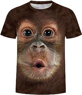 comprar comparacion waotier Hombres Primavera Verano ImpresióN 3D O-Cuello De Manga Corta Camiseta Tops Blusa con Estampado De OrangutáN