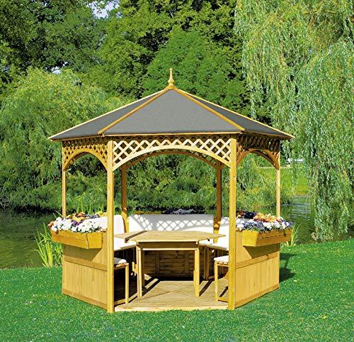 Promadino Pavillon Palma mit Dach aus Dachpappe + Möbeln