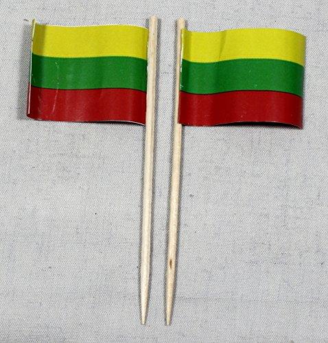 Buddel-Bini Party-Picker Flagge Litauen Papierfähnchen in Profiqualität 50 Stück 8 cm Offsetdruck Riesenauswahl aus eigener Herstellung