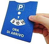 Cucuba® DISCO ORARIO MADE IN ITALY PARCHEGGIO ORA DI ARRIVO IN GOMMA CON RIFINITURE CUCITE 12X10 CM