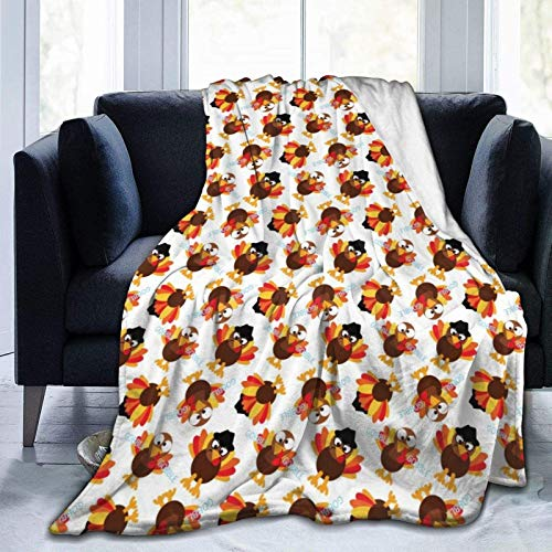 Funny Cartoon Chicken Cute Fleece Throw Blanket 50' x 40' Super Soft Cozy Plush Microfiber Flannel Reversible TV Blanket, Home Decor Throws for Couch Sofa Bed Travel