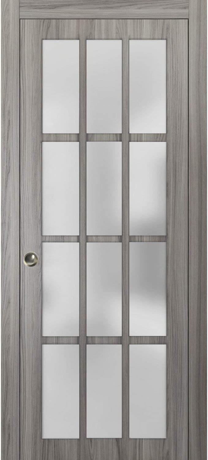 Solid Wood Interior Bedroom Sturdy Doors Sliding French Pocket Door 18 x 80 inches with Frosted Glass 9 Lites Felicia 3309 Matte White Kit Trims Rail Hardware