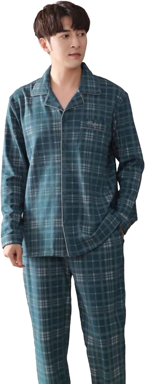 Men's 100% Cotton Thickened Lapel Cardigan Long Sleeve Buttoned Homewear Pajama Set