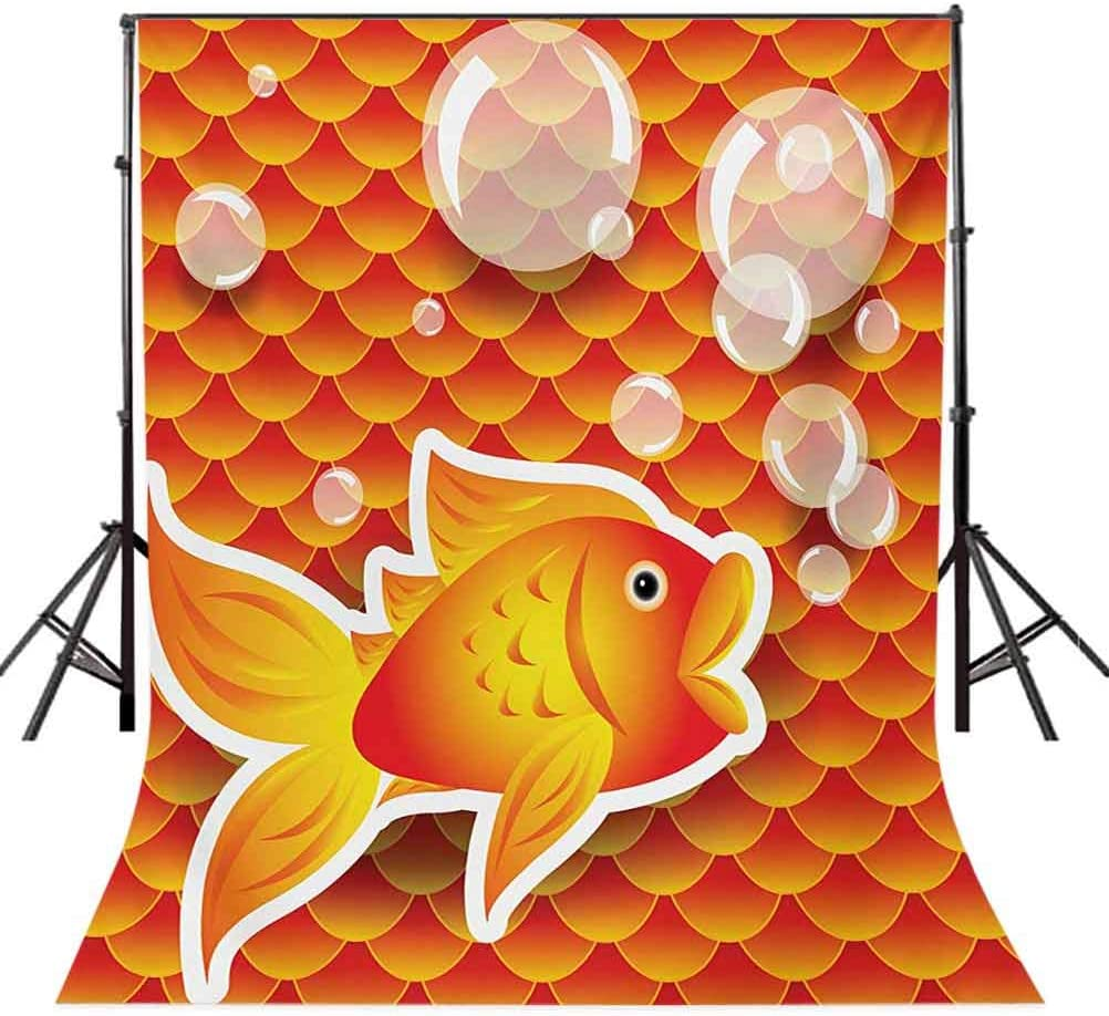 10x15 FT Photo Backdrops,Small Goldfish Talking with Bubbles Random Scallop Patterns Nautical Sea Print Background for Kid Baby Boy Girl Artistic Portrait Photo Shoot Studio Props Video Drape Vinyl