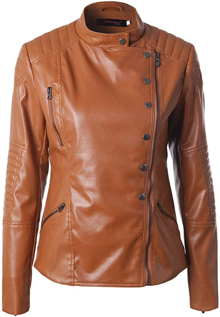 HongHu Women's Long Sleeves Faux Leather Moto Biker Short Coat Jacket
