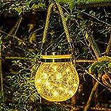 Lámparas solares colgantes para exteriores, 1 paquete de luces LED solares de jardín, impermeables, para camino, terraza, Halloween, Navidad, decoración de jardín (blanco cálido)