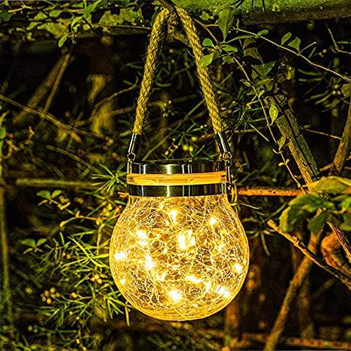 Lámparas solares colgantes para exteriores, 1 paquete de 30 luces LED solares de jardín, impermeables, para camino, terraza, Halloween, Navidad, decoración de jardín (blanco cálido)