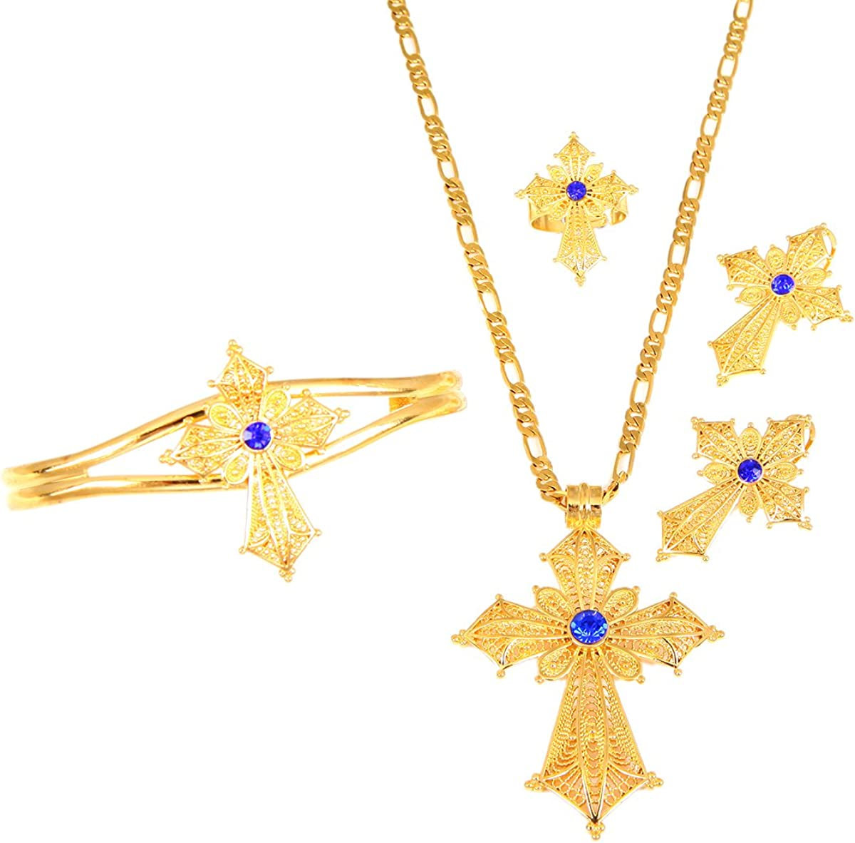 Ethiopian Stone Color Cross Jewelry Set Gold Color Necklace Earrings Ring Bangle