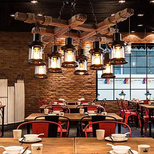 Iluminación industrial colgante de madera de 8 luces, lámpara de techo de metal negro, pantalla de vidrio, lámpara de madera de granja, lámpara de barra de cocina con isla, dispositivo de altura ajust