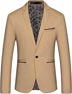 Mens Slim Fit Sport Coat Casual One Button Solid Color Jacket Blazer