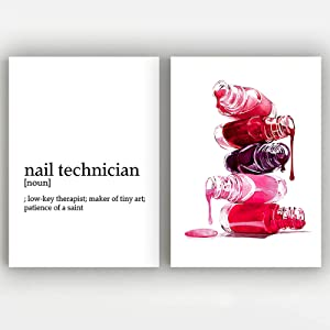 Nail Polish Canvas Wall Art Makeup Illustration Beauty Vanity Poster Prints for Wall Decor Nail Technician Wall Art Prints Manicurist Gift Fashion Nails Salon Wall Art Posters And Prints Unframed