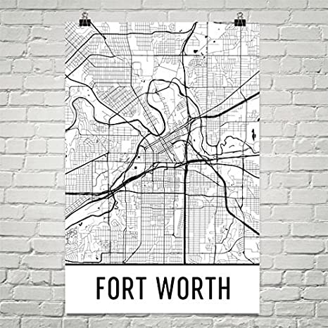 FORT WORTH Map Print USA Wall Art Poster City Map Wall Decor A3 A2 A1