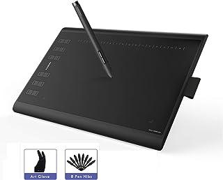 HUION New 1060PLUS Tableta Grafica, Actualizado con 8192 Niveles de Sensibilidad de Lápiz 12 Teclas de Acceso Rápido Apto para Usuarios Diestros y Zurdos