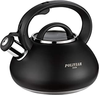 Poliviar Tea Kettle, 2.1 Quart Stovetop Tea Kettle in Matte Black, Audible Whistling Teapot, Food Grade Stainless Steel for Anti-Rust and Anti Hot Handle, Suitable for All Heat Sources (JX2018-BL20)