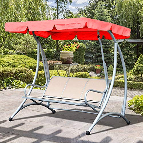Decdeal Swing Canopy Cover Bench Top Replacement Sun Shade Cover Waterproof Swing Canopy Cover Decor for Outdoor Garden Patio Yard Park Porch Seat Furniture
