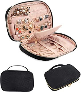 GANAMODA Jewelry Travel Organizer, Soft Padded Traveling Jewelry Bag Case for Earing Necklace Rings Watch Bracelets, Make up Bags 2-in-1 Cosmetic Cases with Necklace Holder