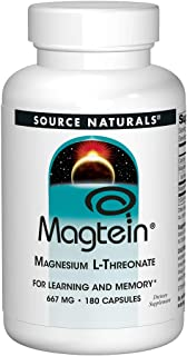 Source Naturals Magtein 2,000mg Serving Magnesium L-Threonate Supplement - Advanced Cognitive Health, Memory & Learning Support - 180 Capsules