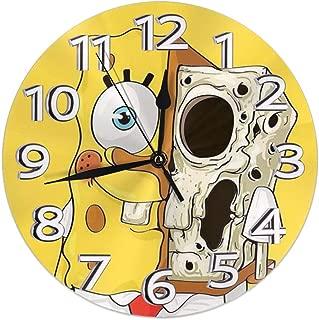 KOAJNF Home Clock,Scary Spongebob Squarepants Retro Arabic Numerals Style, Silent Non -Ticking Wall Clock, Large Wall Art Decorative