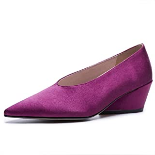KTYXDE Women's Pointed High Heels Shallow Mouth Retro Pointed Shoes Fashion Casual Shoes Party Banquet Black Purple 34-39 Yards Women's Shoes (Color : Purple, Size : 38 EU)