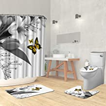 Artmyharbor 4 Piece Butterfly Bathroom Sets with Non-Slip Rug Toilet Lid Cover Bath Mat Yellow Butterfly Grey Flowers Show...