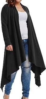 Hanan Nikole Women's Plus Size Long Sleeve Open Front Long Maxi Cardigan Longline Duster Coat