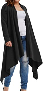 Womens Plus Size Cotton Long Sleeve Open Front Drape Cardigan Long Duster Length