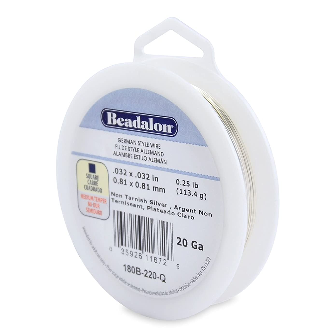 Beadalon 20-Gauge Tarnish Resistant Silver Plate Square Wire, 1/4-Pound