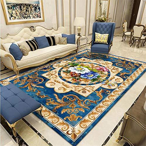 RUGMYW AlfonbrasLa Seguridad alfombras de habitacion Impresión clásica Vintage Azul Beige Amarillo Verde alfombras Infantiles Baratas 80X200cm
