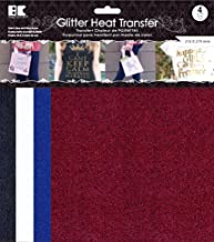Glitter Heat Transfer- 8.5 by 11 inch (4 Sheets)- Black; White; Royal Blue & Red Color