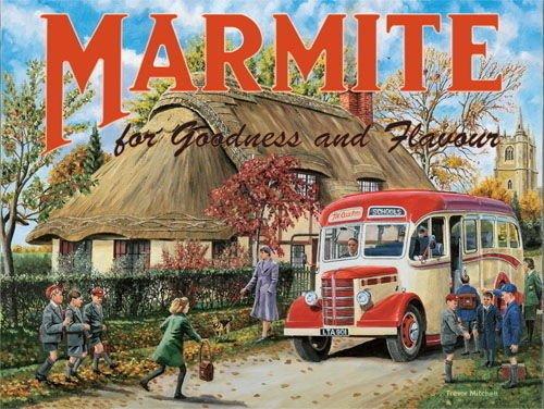 Marmite. Viejo vintage, retro anuncio con escuela autobús y a los niños. Campo ajuste Para casa, hogar, cocina, Café, tienda, pub o bar. Metal/Cartel De Acero Para Pared - 30 x 40 cm