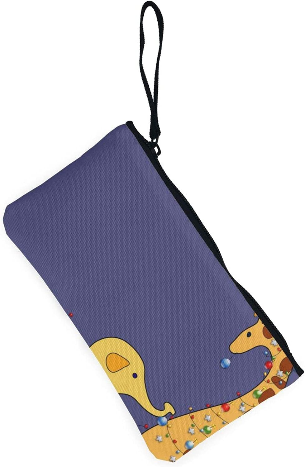 AORRUAM Elephant and giraffe Canvas Coin Purse,Canvas Zipper Pencil Cases,Canvas Change Purse Pouch Mini Wallet Coin Bag