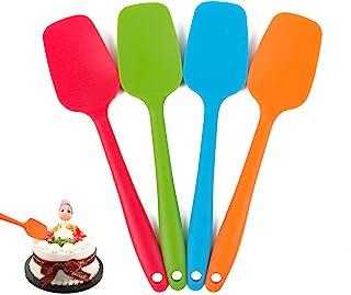 Delidge Silicone Spatula Set - 4-piece, Heat-Resistant Baking Spoon & Spatulas, Non-stick Rubber Dishwasher Safe Seamless ...