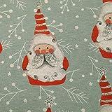 Stoff Meterware Mischgewebe Weihnachsmann grau grün rot